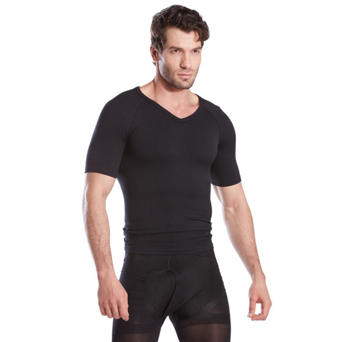 Gynecomastia Short Sleeve Chest Compression Shirt - Black | Gynecomastia Solutions
