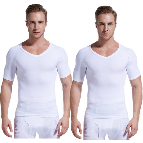 Gynecomastia Short Sleeve Chest Compression Shirt - White - 2 Pack | Gynecomastia Solutions