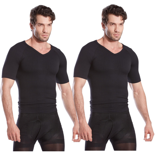 Gynecomastia Short Sleeve Chest Compression Shirt - Black - 2 Pack | Gynecomastia Solutions