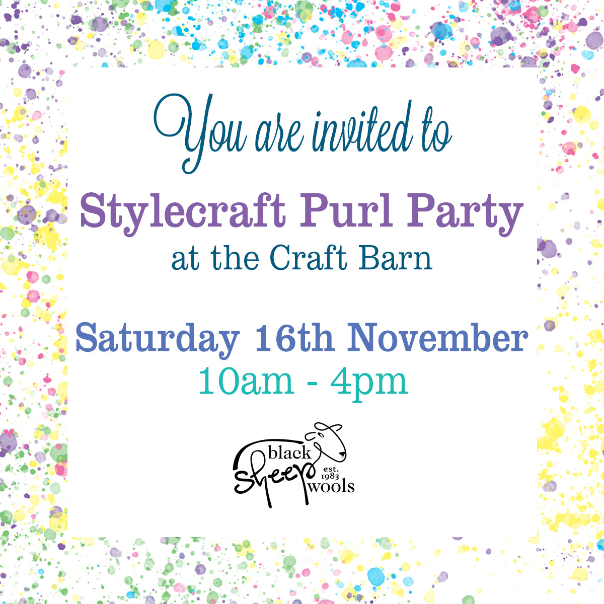 Stylecraft Purl Party Invite