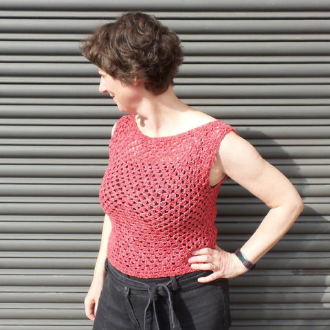 Barbara in a granny square top Black Sheep Wools
