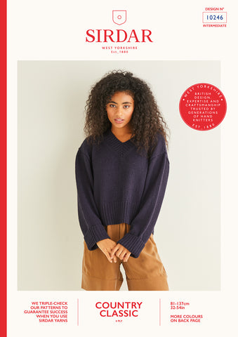 Sirdar Country Classic 4ply V Neck Sweater