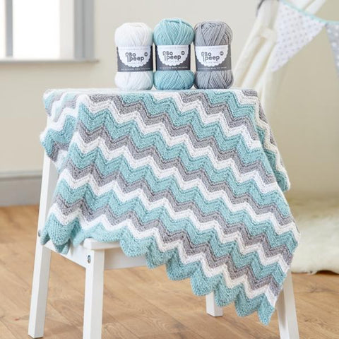 West Yorkshire Spinners Zig Zag Knitted Blanket in Bo Peep DK