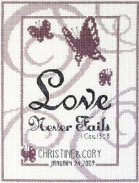 Love Never Fails Wedding Sampler