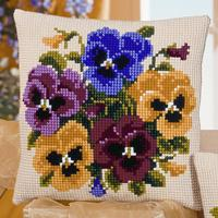 Pansy Posy Cross Stitch Cushion Front Kit