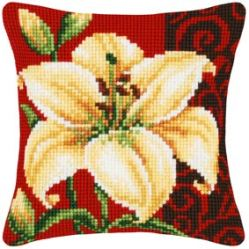 White Lily Vervaco Cross Stitch Cushion Front Kit