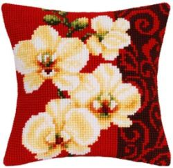 Pansy Posy Large Holed Printed Tapestry Canvas Cushion Kit Chunky Cross Stitch
