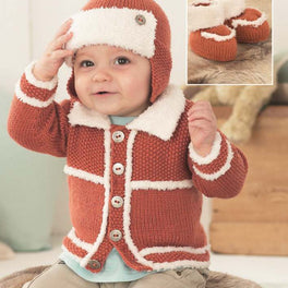 Boy's Cardigan, Helmet and Bootees in Sirdar Snuggly DK and Snuggly Snowflake Dk