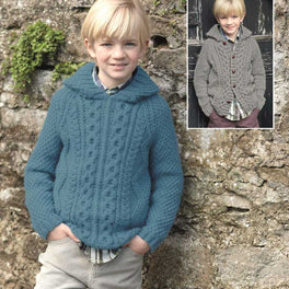 Childrens Hooded Sweater and Cardigan in Hayfield Bonus Aran  - Digital Version