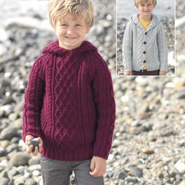 Boys Sweater and Cardigan with Hoods in Sirdar Supersoft Aran - Digital Version