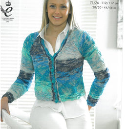 V and Round Neck Cardigans knitted  in King Cole Opium Pallette