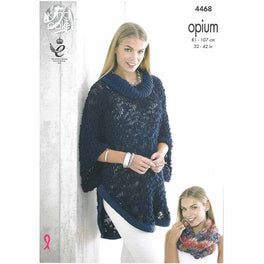 Poncho, Cape and Snood in King Cole Opium and Opium Palette
