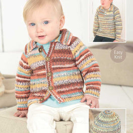 Babies Cardigan, Sweater and Hat in Sirdar Snuggly Baby Crofter Dk - Digital Version