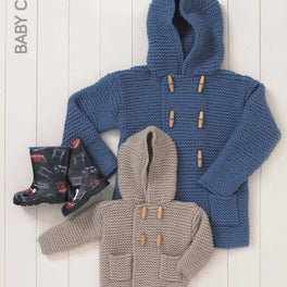 Babies Hooded Boy's Duffle Coat in Hayfield Baby Chunky - Digital Version