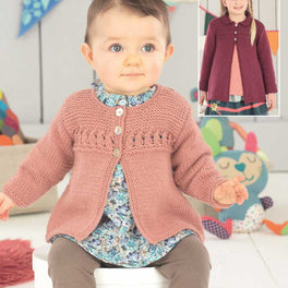 Baby Girls and Girls Cardigan and Coat in Sirdar Snuggly Dk - Digital Version