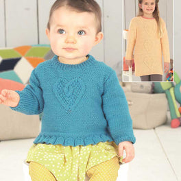 Baby Girls and Girls Sweater and Dress in Sirdar Snuggly Dk - Digital Version