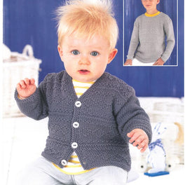 Childrens Sweater and Cardigan in Sirdar Snuggly Baby Bamboo DK - Digital Version