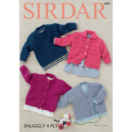 Baby's Cardigans and Sweater in Sirdar Snuggly 4ply - Digital Version