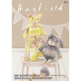 Rabbit & Cat in Hayfield Baby Blossom Chunky & Sirdar Snuggly Snowflake Chunky - Digital Version