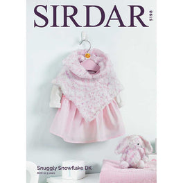 Baby Girl's Hooded Poncho & Bunny Soft Toy in Sirdar Snuggly Snowflake DK
