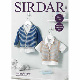 Boy's V Neck Cardigan and Waiscoat in Sirdar Snuggly 4ply - Digital Version