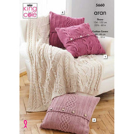 Throw and Cushion Covers in King Cole Forest Aran