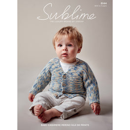 V Neck Cardigan in Sublime Baby Cashmere Merino Silk DK Prints 6144