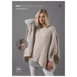 Poncho Snood and Hat in Rico Creative Soft Wool Aran