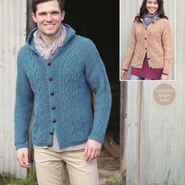 Ladies and Mens Cardigans in Hayfield Bonus Aran Tweed - Digital Version