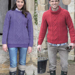 Ladies and Mens Sweaters in Hayfield Bonus Aran Tweed - Digital Version