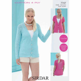 Ladies Cardigan Crocheted in SIrdar Cotton 4ply - Digital Version