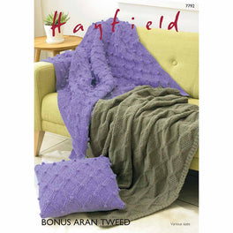 Blankets and Cushion in Hayfield Bonus Aran Tweed - Digital Version