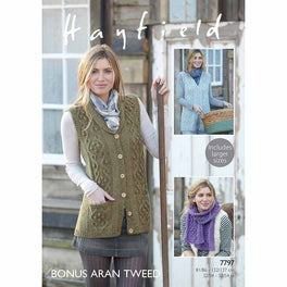 Waistcoats and Scarf in Hayfield Bonus Aran Tweed - Digital Version