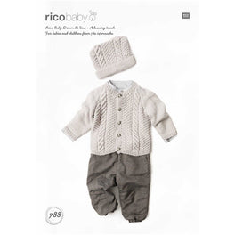 Rico Babies Cardigan & Hat Knitting Pattern in Baby Dream Uni DK - Digital Version