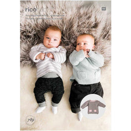 Rico Babies Sweaters Knitting Pattern in Baby Dream Uni DK  - Digital Version