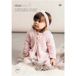 Rico Babies Cardigans & Headband Knitting Pattern in Baby Dream Uni DK  - Digital Version