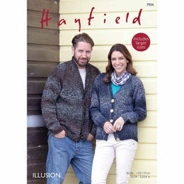 Shawl Collar and V Neck Cardigans in Hayfield Illusion DK  - Digital Version