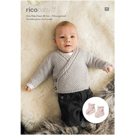 Rico Babies Cardigan & Socks Knitting Pattern in Baby Dream Uni DK - Digital Version