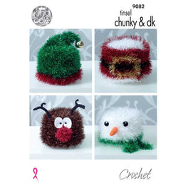 Crochet Christmas Toilet Roll Covers in King Cole Tinsel Chunky