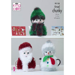 Christmas Tea Cosies in King Cole Tinsel Chunky and DK
