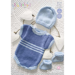 Lullaby Romper, Hat & Booties in Stylecraft Lullaby Dk