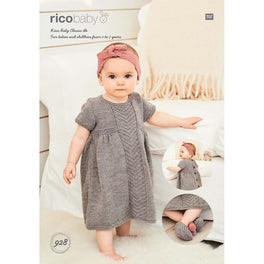 Babies Dress, Headband and Slippers in Rico Baby Classic Dk