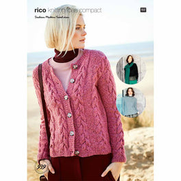 Sweater Cardigan and Scarf in Rico Fashion Modern Tweed Aran