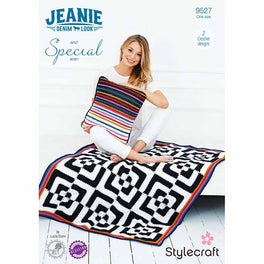 Hypno Blanket and Cushion in Stylecraft Jeanie Aran & Special Aran by Lucia Dunn