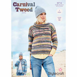 Cardigan and Sweater in Stylecraft Carnival Tweed Chunky