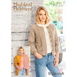 Cardigan, Scarf and Wristwarmers in Stylecraft Highland Heathers Dk 9797