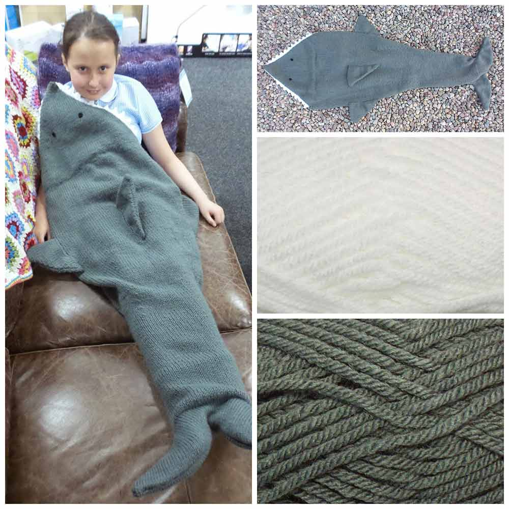 Shark Blanket Knitting Pattern & Yarn Pack – Black Sheep Wools