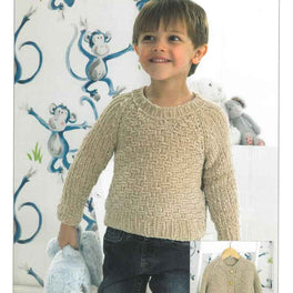 Boys' Sweater and Cardigan in James C Brett Flutterby Chunky