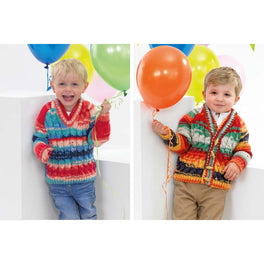 Cardigan and Sweater in James C Brett Party Time Chunky JB381