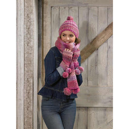 Scarf Hat and Wrist Warmers in James C Brett Marble Chunky